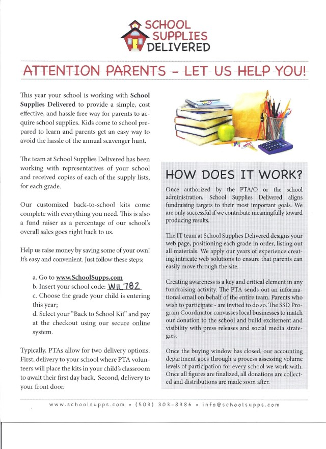 School Supplies Delivered Flyer